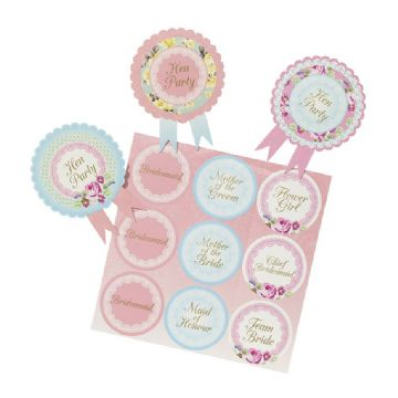 Pretty Vintage Floral Hen Party Badges - pack of 6